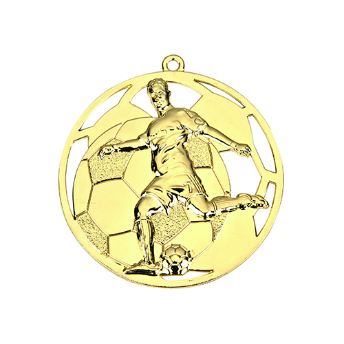 Præget fodboldmedalje i guld