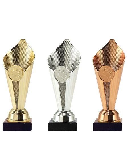 Plastik pokal i guld, sølv og bronze