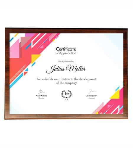 Træ Award med Lux print i farver