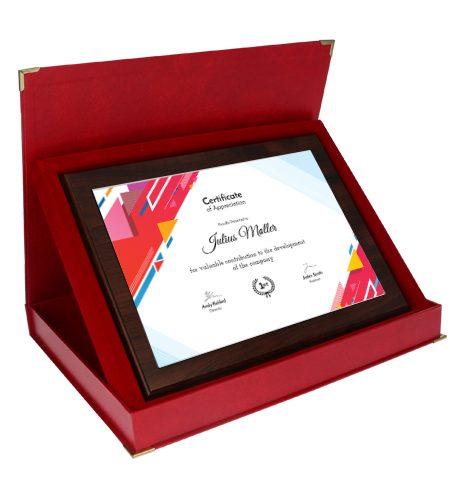 Træ award med lux print og gaveæske